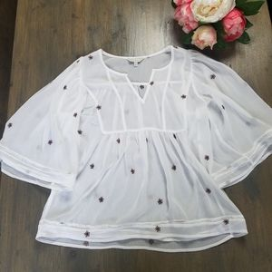 Lucky Brand Sheer Floral Peasant Blouse Embroidery